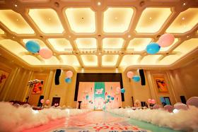 粉色小清新卡通热气球主题婚礼布置图