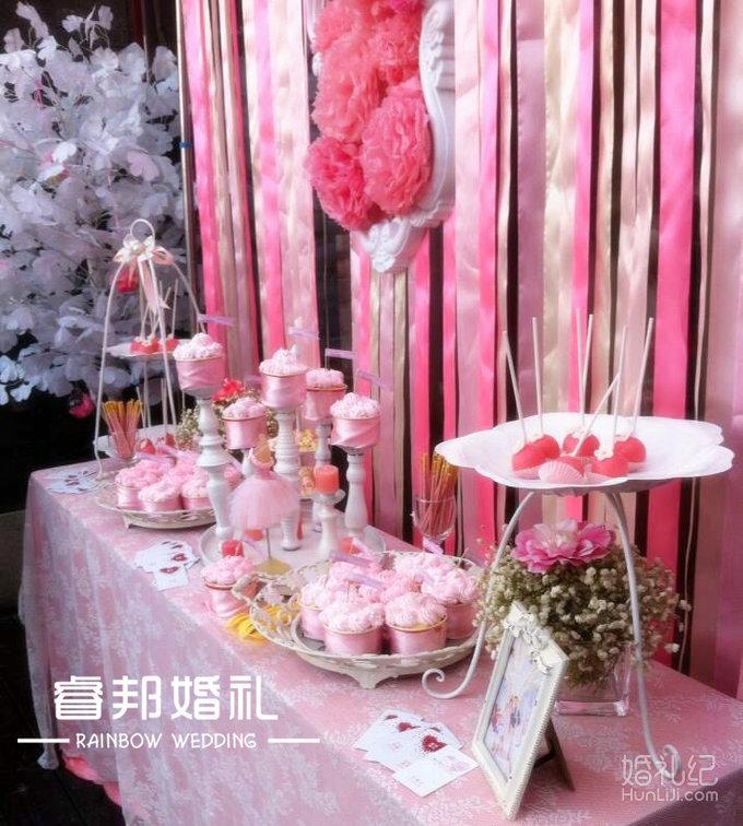 甜品台主题色丝带背景+白色欧式相框