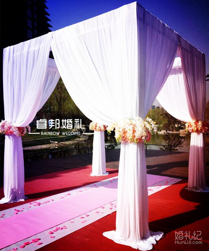 大气桁架亭+白色纱幔+白色蝴蝶兰香槟粉绣球花