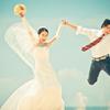 穿上婚纱,让大海见证我们的爱情……