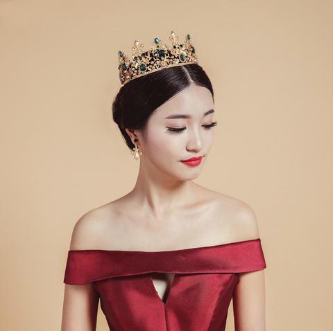 新娘头饰欧式复古金色圆形巴洛克皇冠婚纱配饰品王冠