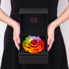THEONE唯忆永生花礼盒七彩玫瑰花盒干花保鲜花花艺创意生日