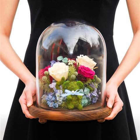theone唯忆进口永生花玻璃罩保鲜花花艺高端摆件干花创意