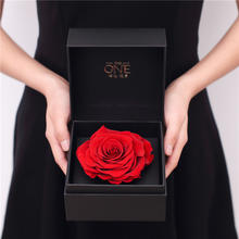 THEONE唯忆嫣红进口永生花礼盒巨型永生红玫瑰保鲜花盒干花