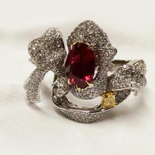 【呓人珠宝】3克拉红宝石缎带戒指,高端奢华、气质非凡
