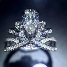 AngelaBaby同款水滴形钻石皇冠婚戒  1克拉效果