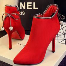 婚靴红色高跟婚鞋新娘鞋酒杯跟短靴新款婚庆红靴冬款结婚靴子红鞋