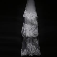 新款韩式高档奢华蕾丝花边带钻超长拖尾婚纱配饰 婚礼新娘头纱3