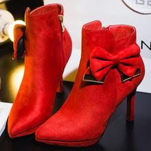 婚鞋冬短靴加绒婚鞋红色高跟鞋尖头蝴蝶结细跟新娘鞋婚礼鞋靴子