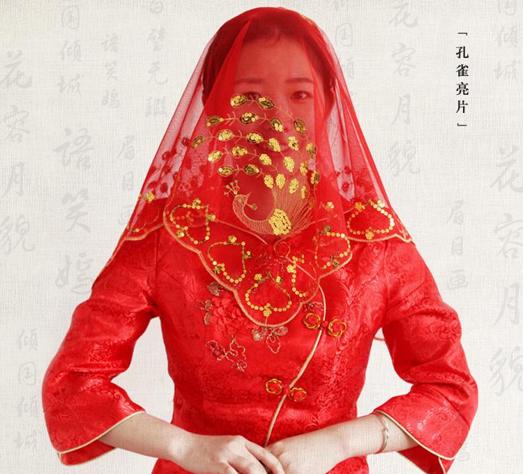 热销结婚礼红盖头新娘盖头大方巾中式新娘头纱婚庆