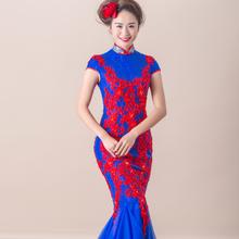 鱼尾修身红,蓝色中国风礼服