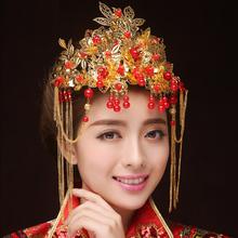 新娘古装头饰红妆饰佳 虞姬。 结婚流苏凤冠额饰 旗袍秀禾服配