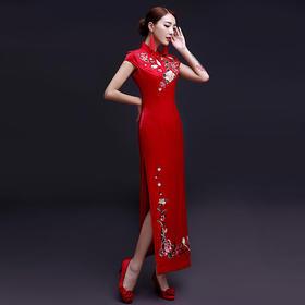 爱慕 新娘旗袍敬酒服红色修身长款中式结婚改良大码复古
