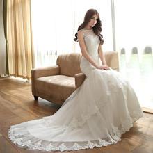 鱼尾婚纱拖尾韩版蕾丝2017新款新娘收腰显瘦出门纱HS520