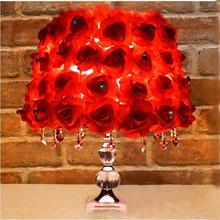 高档玫瑰花结婚礼物水晶台灯婚房卧室床头灯 婚庆礼品台灯送闺蜜