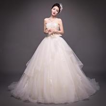 拖尾婚纱2017新款抹胸香槟色夏款韩式结婚礼服显瘦HS544