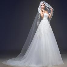 抹胸拖尾婚纱礼服新款时尚蕾丝亮片绑带修身显瘦镶钻HS424