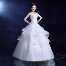 婚纱礼服2016 韩版式新娘白色镶钻抹胸修身齐地婚纱MY19