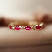 【呓人珠宝】马眼形红宝石戒指  满圈镶嵌