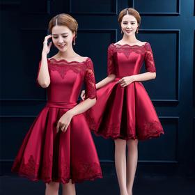 新款秋冬红色新娘结婚敬酒服冬一字肩短款修身婚礼晚宴晚