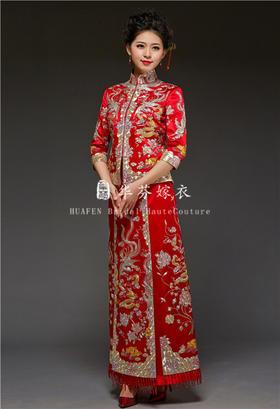 华芬嫁衣-原创裙褂 鸳鸯龙凤褂 手工盘金绣 超细 嫁衣中式