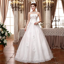 婚纱2017新款高档韩版新娘蕾丝A摆抹胸齐地婚纱MK51