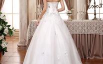 婚纱2016新款高档韩版新娘蕾丝A摆抹胸齐地婚纱MK51