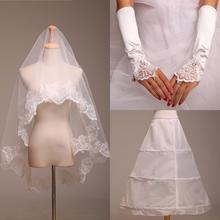 婚纱配件三件套 时尚新娘必备结婚配饰 蕾丝手套 头纱XD3