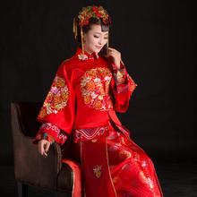 【买就送头饰+耳环】长袖旗袍中式敬酒礼服秀禾服新娘结婚红色