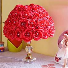 玫瑰花台灯 欧式婚房卧室水晶台灯婚庆床头灯创意结婚礼物装饰灯