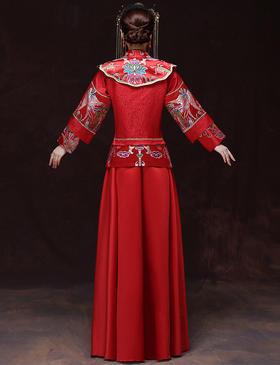 长袖秀禾服新娘礼服中式结婚敬酒古装嫁衣龙凤褂旗袍XH15