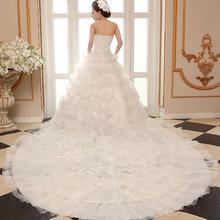 抹胸长拖尾婚纱礼服结婚新娘中高腰韩式简约显瘦婚纱拖尾H177
