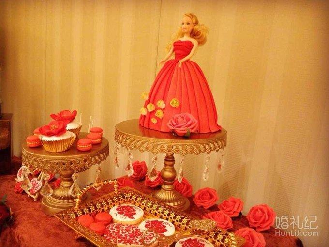 中式红色&金色婚礼甜品台