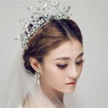 新娘饰品白色手工水晶花环头饰软陶头花韩式结婚发饰婚纱配饰包邮