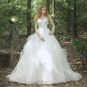 春新款婚纱小拖尾礼服新娘双肩蕾丝花朵婚纱齐地大码拖尾