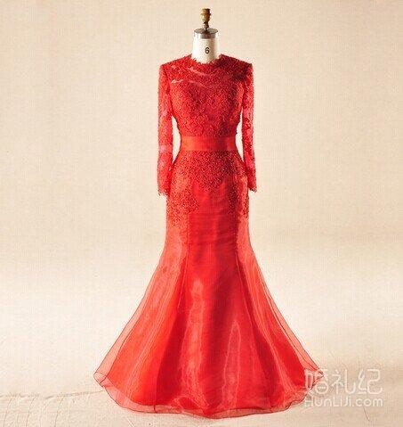 馨之缘婚纱精品馆-修身大气大红色礼服