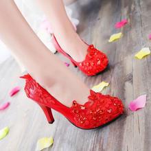 纯手工婚鞋 中高跟蕾丝水钻新娘鞋婚纱拍照鞋礼服鞋