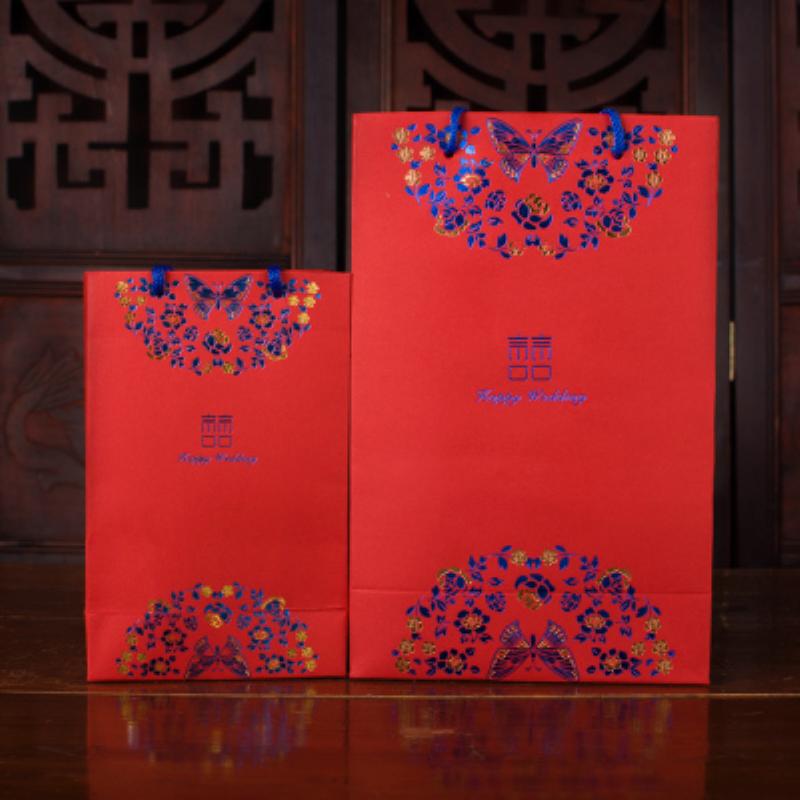 中国风创意喜糖盒子纸盒手提礼品袋纸袋包装袋喜糖袋子结婚回礼袋