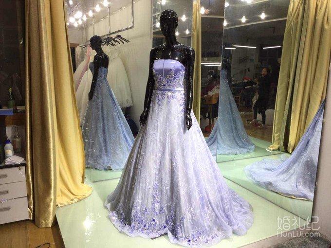 薰衣草紫色系列水晶晚宴礼服  设计特点:抹胸 小拖尾 绑带 施华洛水晶