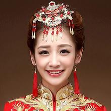 新娘头饰红色中式古装发饰秀禾服敬酒礼服配饰结婚手工饰品