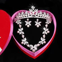 四叶草 韩式珍珠水钻新娘饰品皇冠头饰项链三件套