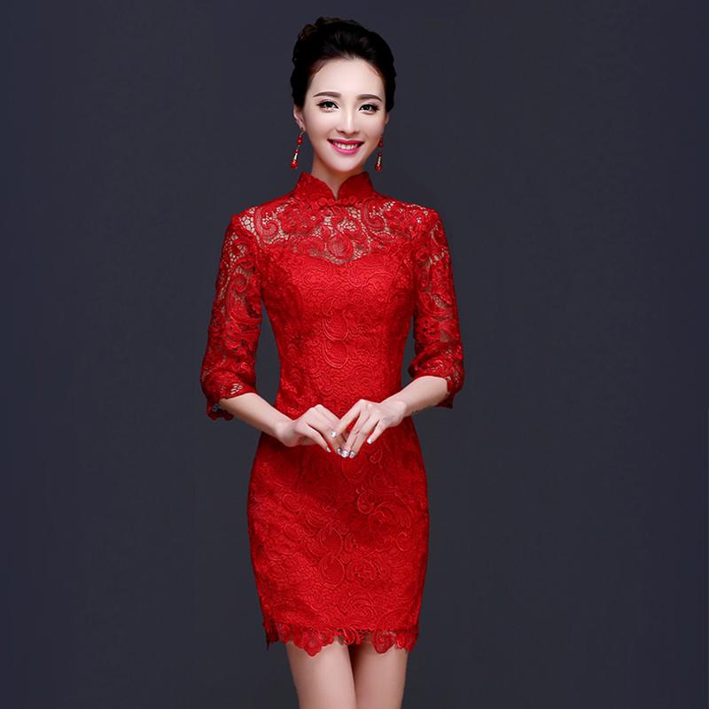 红色旗袍_2017新款红色新娘婚纱礼服女长袖长款敬酒服 立领中袖旗袍