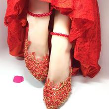 新款手工蕾丝珍珠脚链结婚新娘鞋婚纱礼服旗袍拍照鞋子平加绒棉