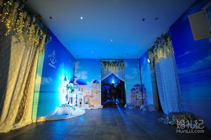 蓝色海洋婚礼主题迎宾图片素材