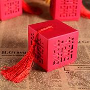 中国风四面镂空喜字喜糖盒 新款个性婚品 中式婚礼喜糖盒