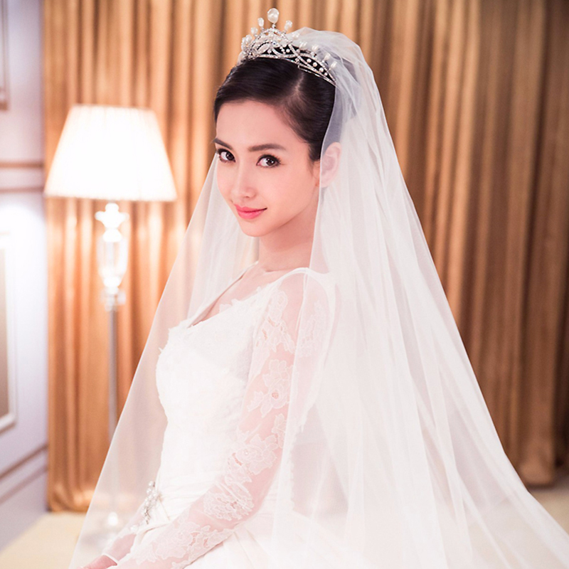 angelababy杨颖同款新娘饰品珍珠水钻皇冠头饰结婚纱发