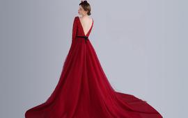 【宝格丽雅】纯美V背大红色礼服