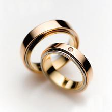 梵誓-三世缘日本设计师情侣结婚对戒婚戒18K金+铂金3色3层