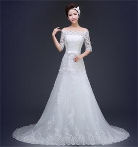 高端韩版2016一字肩拖尾婚纱新娘结婚婚纱
