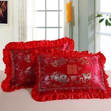 龙凤真品丝绸缎单人枕套风景百子图牡丹真丝织锦枕头套一对的价格